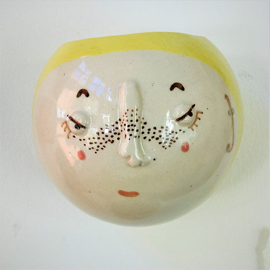 Pale Yellow Kindface Wall Pot