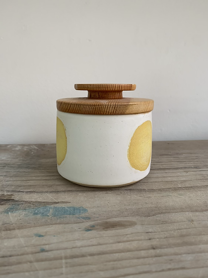 Yellow 3 spot jar with hand turned wooden lid