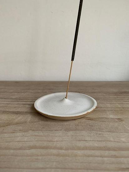 Simple White Stoneware Incense Holder