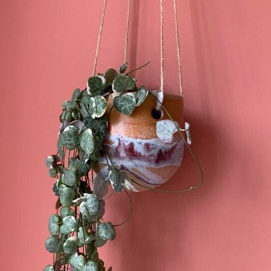 Small Round Splash Hanging Planter. Rhodes Dolomite and Chrome Grey Glaze.
