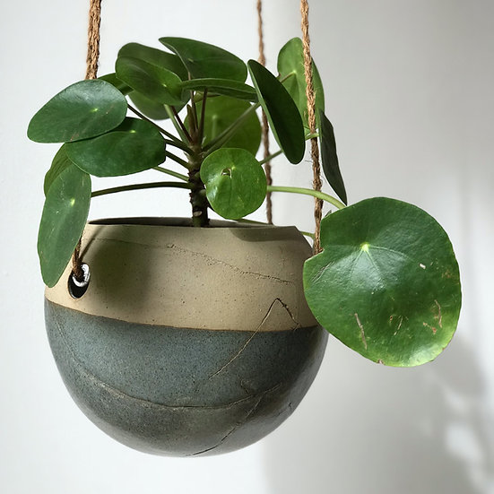 Large Round Hanging Plant Dipped in Broken Blue Glaze