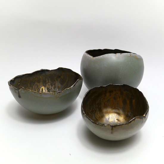 Set of Stoneware Bowl with Ripped Edge Effect Top. Celadon Green.