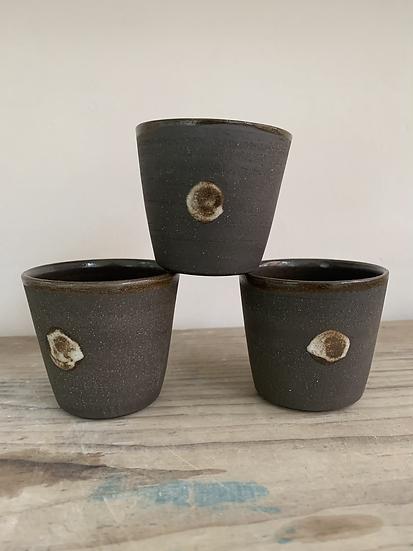 Black clay spot espresso beaker