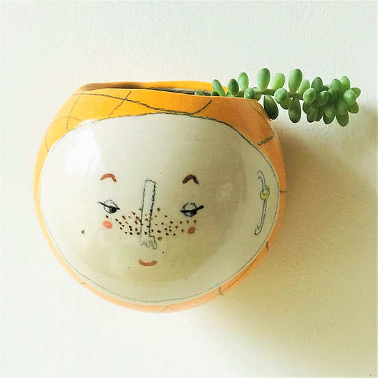 Orange Plaid Kindface Wall Pot