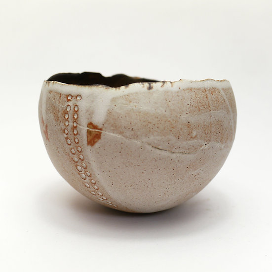 Stoneware Bowl with Ripped Edge Effect Top. Dolomite Matte White.