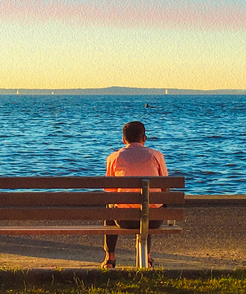 Man Still by the Water, Canvas Print  24x18