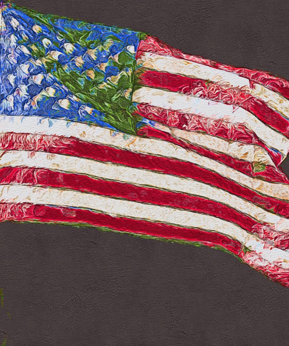 Flag # 3,  Glass print 23x23