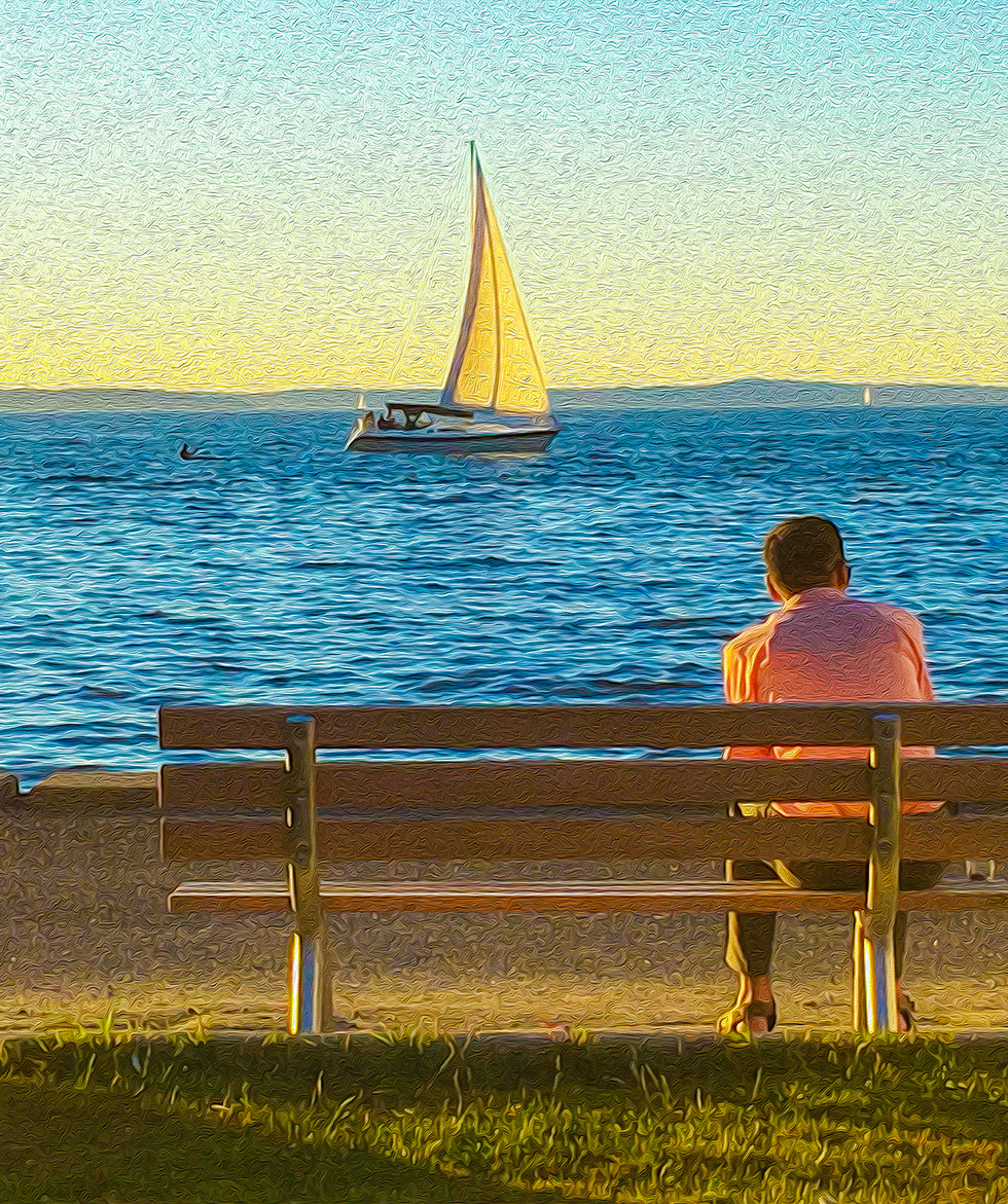 Man by the Water, Canvas Print  24x18