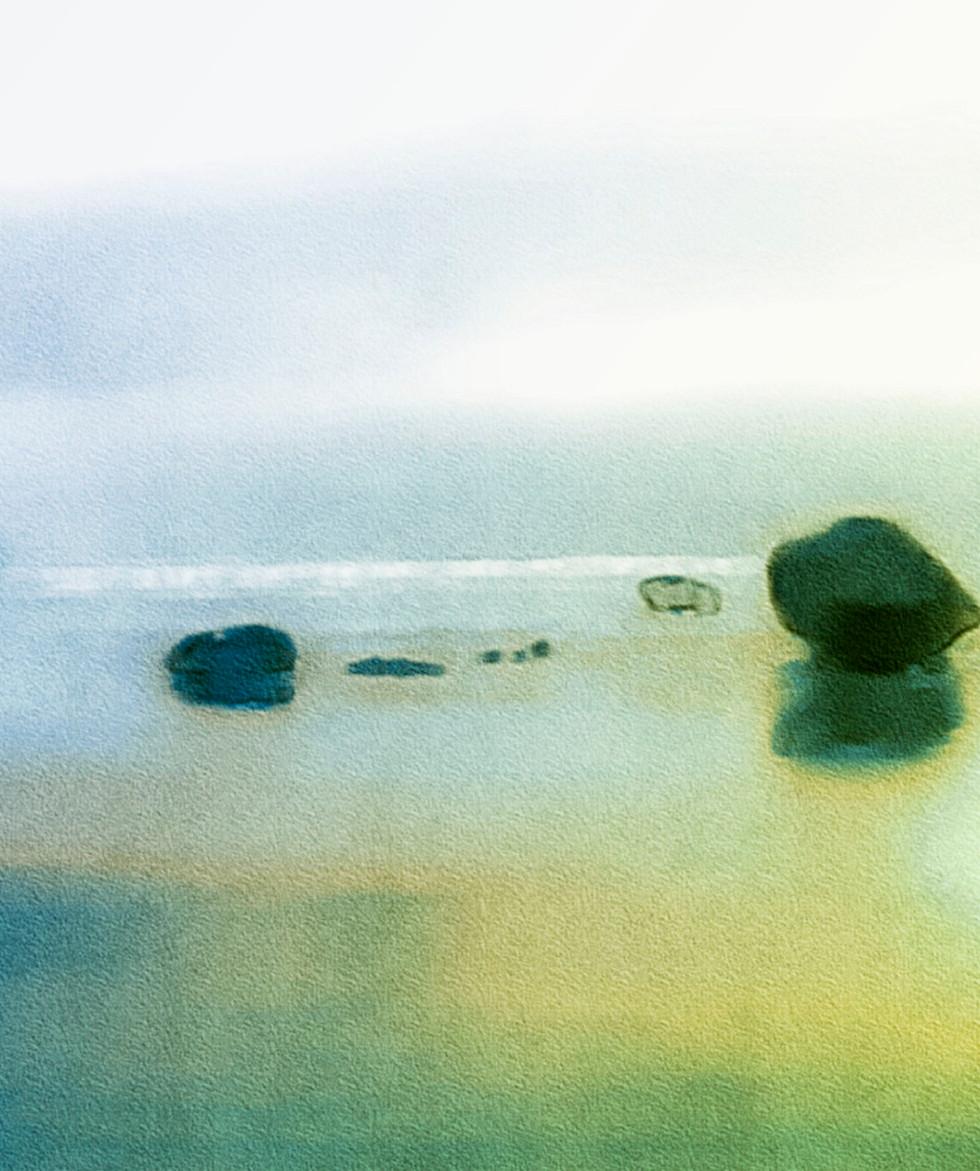 Sea Rocks  Glass print  15.6x20.8