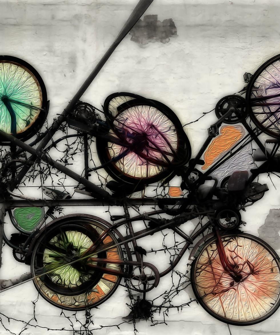 Family Bike Rack, Canvas Metallic Print  24x36