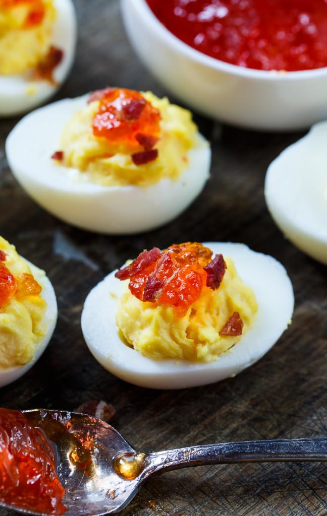 Pepper jelly deviled eggs
