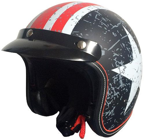 Jethelm RALLOX 181 USA matt Schwarz Rot Weiß