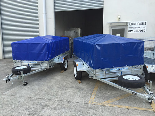 Vulcan Trailer - Caged,Welded & Bolted Fitted PVC Cover, Cross Bars,Spare Wheel