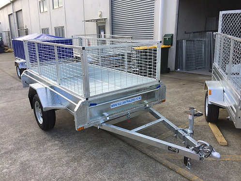 Vulcan Trailer - Caged, Fully Welded Fitted PVC Cover, Cross Bars, Spare Wheel