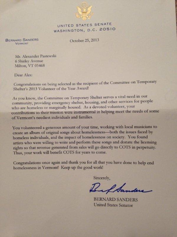 Bernard Sanders Letter