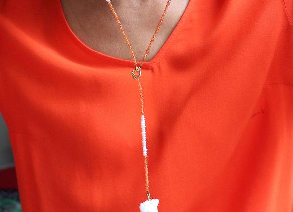 sautoir cornaline et perles naturelles