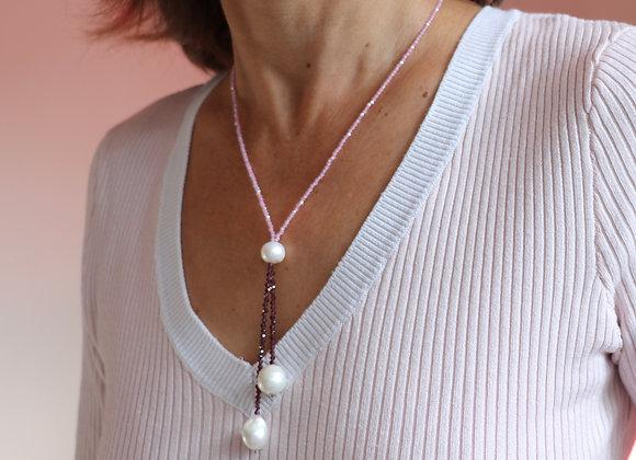 collier pierres semi-précieuses, perles de culture
