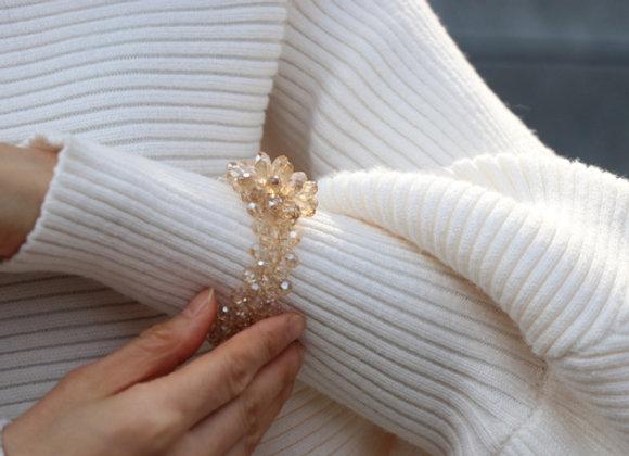 bracelet fleur cristal doré