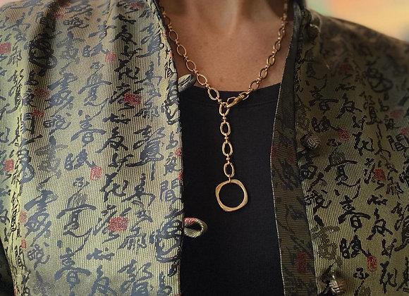 collier chaine  long doré avec anneau