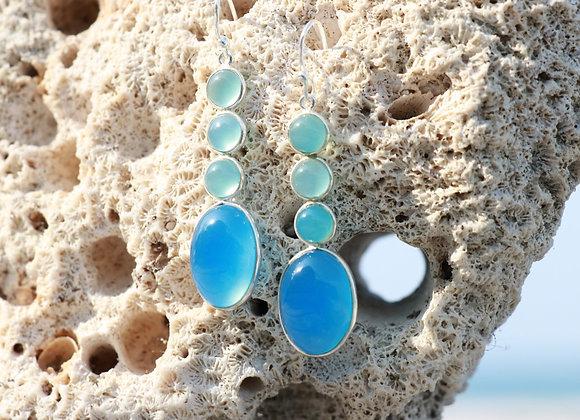 boucles d'oreille argent et 3 pierres amazonite