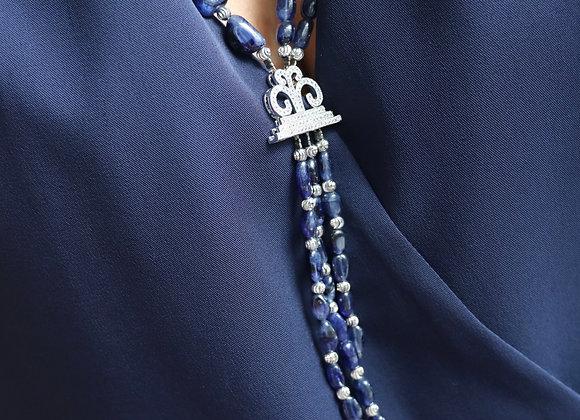 collier saphir corindon et accessoire argent
