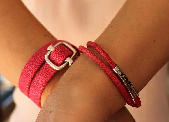 bracelet boucle large galuchat
