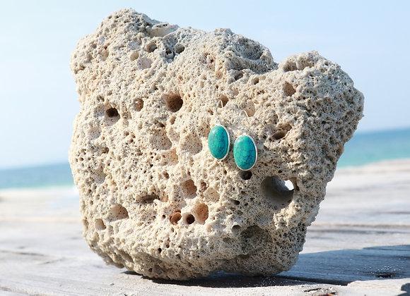 boucles d'oreille argent et turquoise ovale