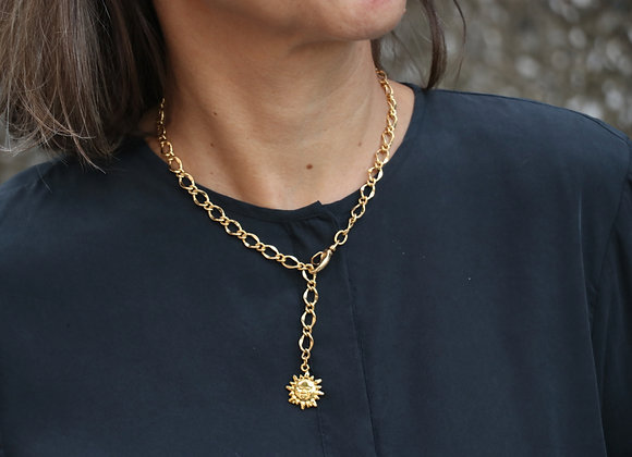 collier chaîne dorée soleil ou croix