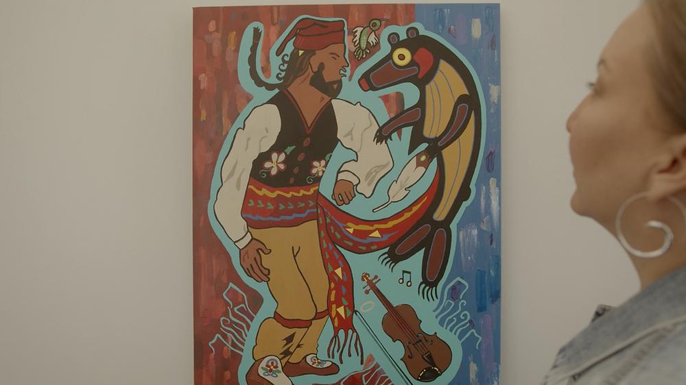 The painting Trois Jiggers Métis by Annette Sullivan