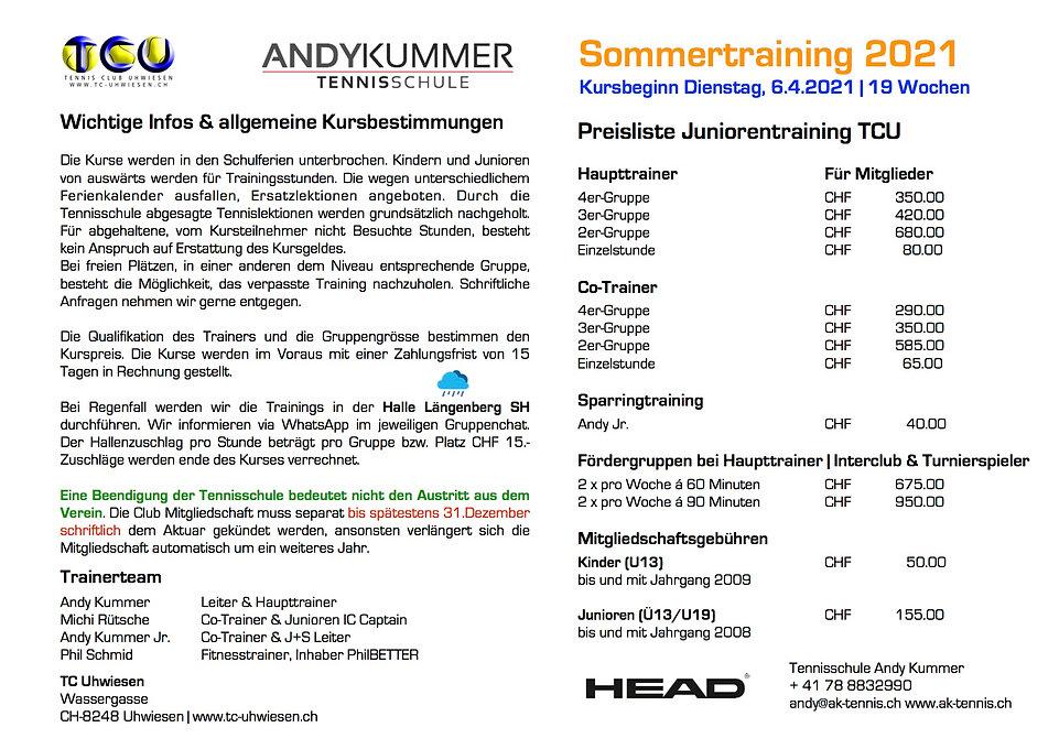 Junioren Sommer 2021 | AKT Tennisschule.