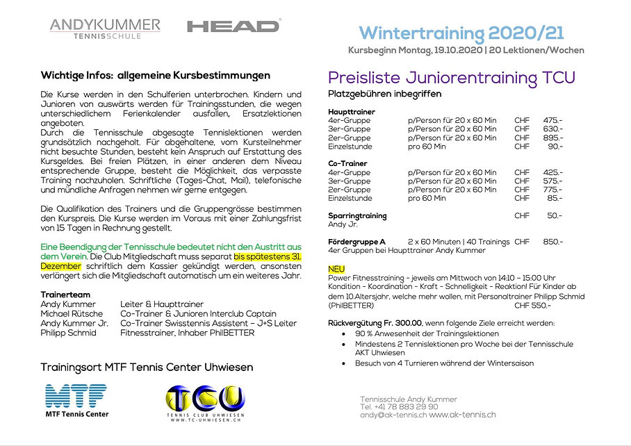 Infos & Preisliste Junioren Winter 2020.
