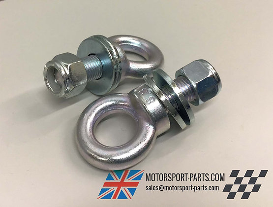 """x2 7/16""""UNF Eyebolts 1""""/23mm, For Harness/Seatbelt, Includes Nuts & Washers"""