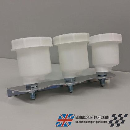 Aluminium Triple Brake Fluid Reservoir Bracket + Reservoir Pots