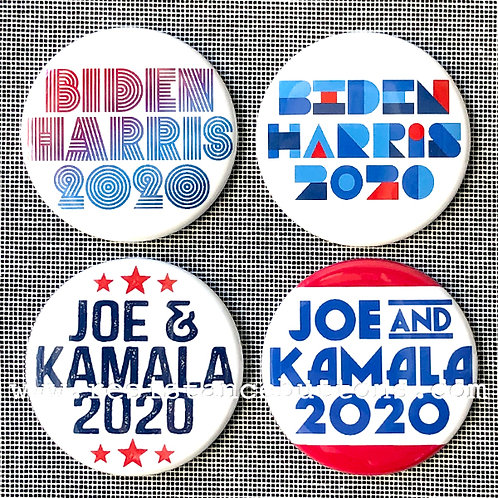 Pack of Biden/Harris 2020 Buttons: Red, White, & Blue