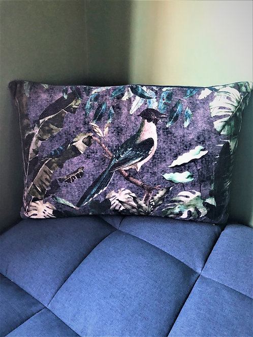 Forest Bird Velvet Cushion