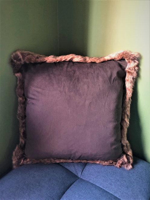 Smoke fur-trim cushion