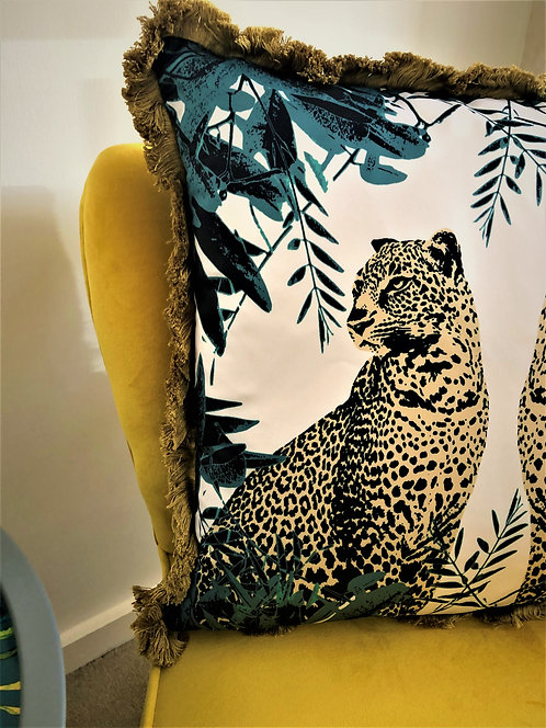Teal & gold leopard cushion