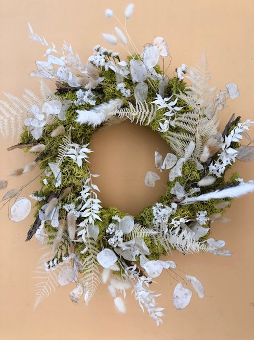 Mossy Preserved Wreath with White Accents