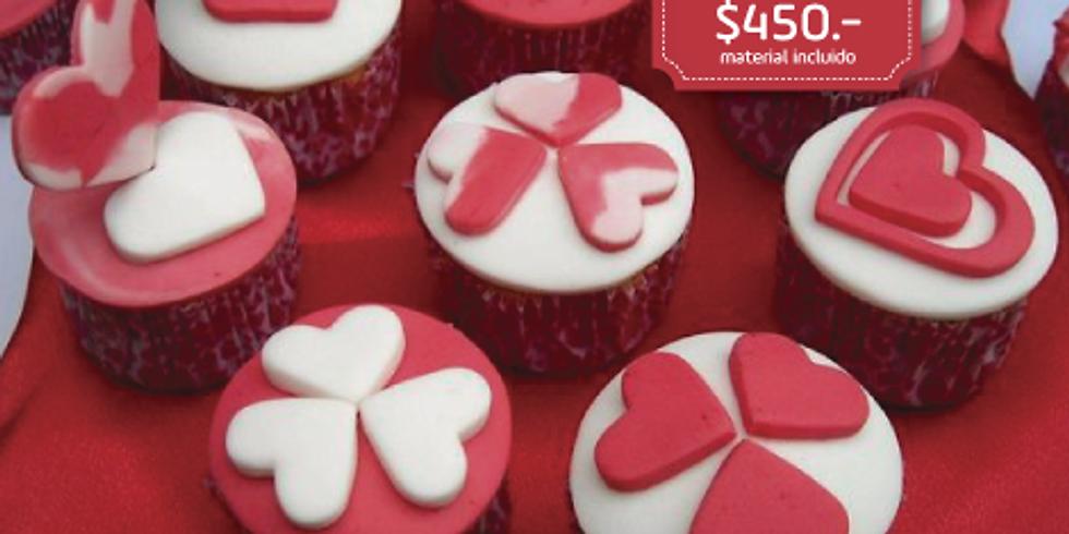 Cupcakes con Fondant de San Valentín