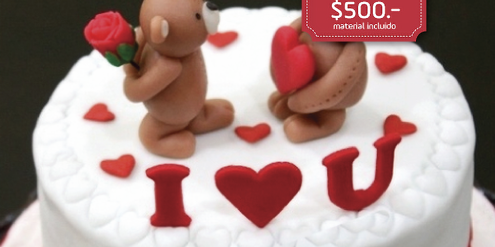 Pastel de Fondant de San Valentín
