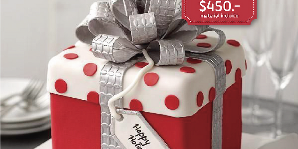 Pastel de caja de regalo con Fondant
