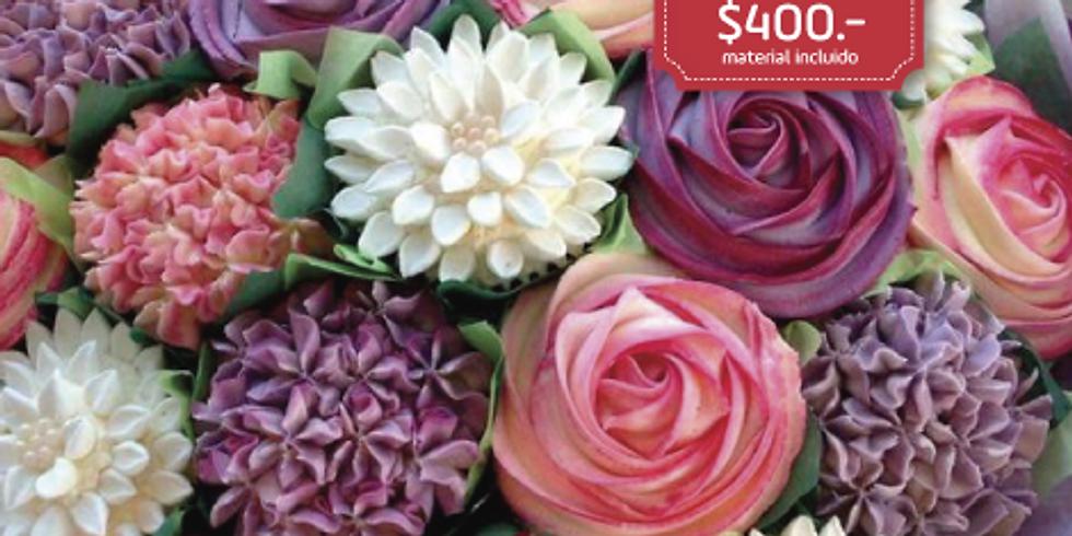 Flores con crema batida (Uso de duyas)