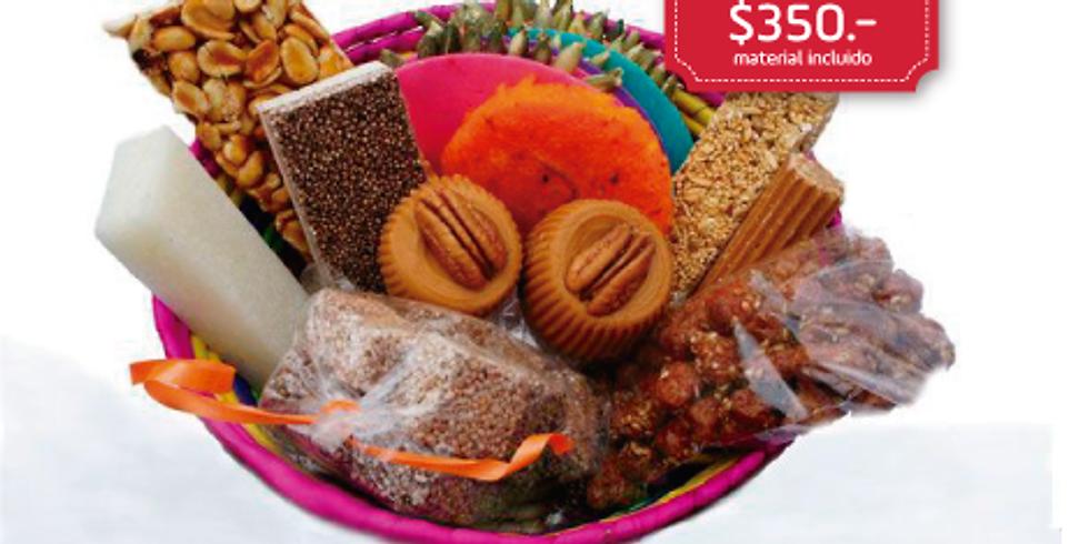 Dulces típicos Mexicanos (palanquetas, alegrías, dulces de leche con nuez y buñuelos)