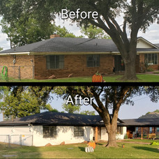 Before and After Exterior with new Cedar Poles