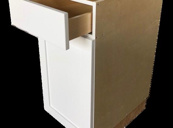 Cabinet raw no paint single door drawer.