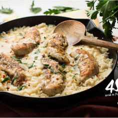 CHICKEN SCAMPI WITH PARMESAN RICE – FAMILY STYLE 