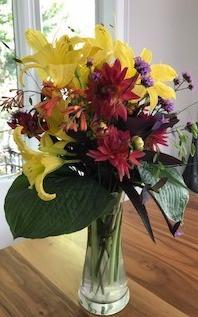 Daylily & Dahlia flower arrangement