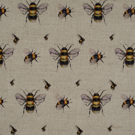 Bee Real fabric swatch on Oatmeal.