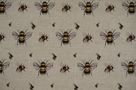 Bee Real on Oatmeal fabric sample