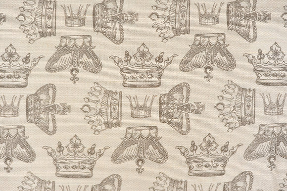 Willis Bloom Regal Beauty fabric in warm grey. Crown fabric design for beautiful curtains and cushions.